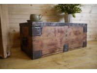 Antique rustic solid pine old chest, trunk, storage box.
