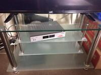 Glass TV stand and small side table