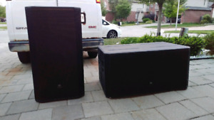JBL STX  825 & 828s with QSC POWER AMPS