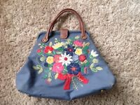 Gorgeous cath kidston large handbag with leather handles pretty shabby chic bag