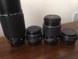 4 Vintage Pentax LEGACY lenses, various prices from £30