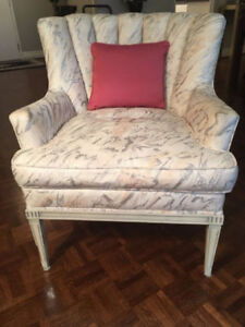 White Italian Provincial Chair with Unique Upholstery