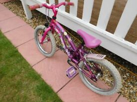 Girls Bike, 16 inch wheels, Suit 5 to 7 year old, used but fully roadworthy, brakes etc