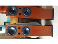 Pair of IMAGIO IC348TL floor standing speakers in light cherry