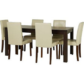 Penley Walnut Stain Extendable Dining Table & 6 Cream Chairs