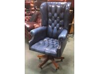 Beautiful Air Force Blue height adjustable swivel and Tilt Wing Back Armchair