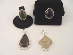 Sterling Silver 4 pcs Lot Cream Color Pendant all Stamped 925