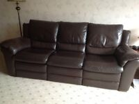 3 piece quality leather,reclining suite.