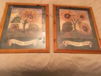 Sunflower prints in a pine frame