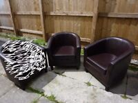 TUB CHAIRS FAUX BROWN LEATHER A PAIR OF OR SELL SINGLE