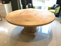 Artsome COACH HOUSE Collection Large Corinthian Column Round Dining Table Reclaimed Wood RRP £1,495