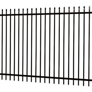 Wrought Iron Fence with Gate- Black Rod
