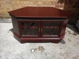Mahogany coloured corner TV cabinet and matching media cabinet