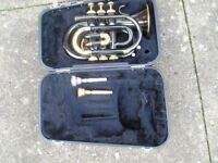 JUPITOR MODEL JPT-416 POCKET TRUMPET + TWO MOUTH PIECES +CASE