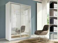 Lux 150 2 Door Sliding Wardrobe full Mirror wenge black grey white