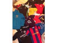 Lot of boys football + rugby shirts shorts hoodies £30