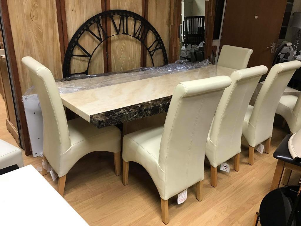 Stunning Extra Large Minella Marble Dining Table 6 8 Cream Leather Chairs