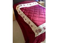 King size burgundy bed spread