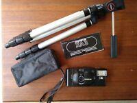 Olympus XA3 35mm film camera with A11 flash and tripod