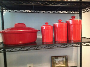Red oven baking dish Red canister set