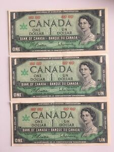 3 1967 Vintage Canada's 100 Anniversary Banknotes-FREE Shipping