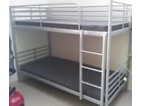 IKEA METAL FRAME BUNK BED IN SILVER GREY PRISTINE DISASSEMBLED FOR COLLECTION