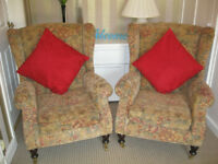 Pair Parker knoll York wing back chairs. Cambridgeshire