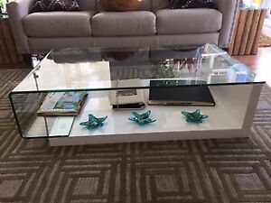 SCAN DESIGNS GLASS COFFEE TABLE - $200