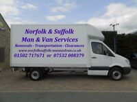 NORFOLK & SUFFOLK MAN AND VAN REMOVALS TRANSPORT BECCLES LOWESTOFT YARMOUTH NORWICH HALESWORTH DISS
