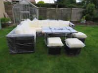 Rattan garden black corner sofa with glass top table - New & Sealed
