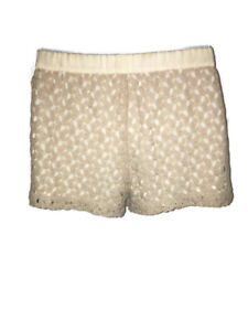 Women's GUESS Beige Crocheted with Shimmer Shorts, Size Small