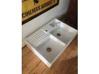Double Belfast sink and mixer tap, new ex display