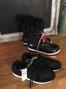New Size 8 Justice Athletic Shoes and Winter Boots