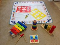 Wooden toys and aqua draw