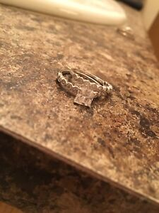 Sterling Silver Princess Cut CZ Engagement set size 6
