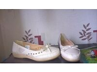 ladies shoes 1 pair brown and 1 pair beige size 7 and 1 pair of trainers size3