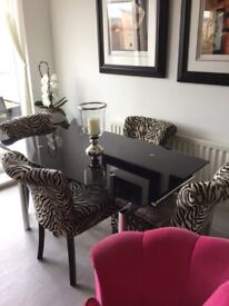Four Zebra Print Dining Room Chairs