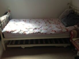 Single bed with mattress, mattress protector and trundle