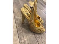 Gold diamanté peep toe heel shoes size 3