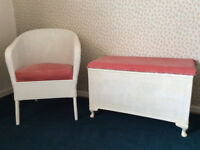Vintage 1950s Sirrom furniture - linen basket and chair