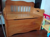 Kids Bench with storage, wooden clean