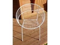 White or green round metal garden or conservatory chairs