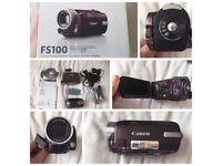 Canon FS100 Digital Camcorder -Limited Edition - Garnet Wine with accesories