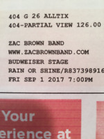 Zac Brown concert tickets $200 for 2