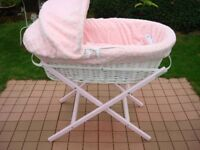 White Wicker Moses Basket with Pink dressings