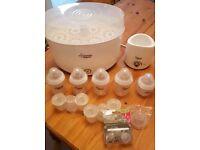 Tommee Tippee Steriliser kit and baby bottles
