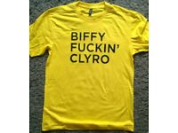HAND SCREEN PRINTED BIFFY F*****G CLYRO T SHIRT SIZE L BRAND NEW