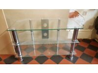 TV Stand, Glass, with room for Blueray / DVD / SKY