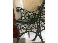 Pair ornate garden bench ends