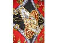VINTAGE Scarf, BEAUTY , Fleur-de-lis, Crown, Sword Equestrian Style- 100% Silk, Measures 86cm x 86cm